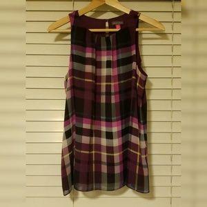 Vince camuto XS purple plaid sleeveless blouse